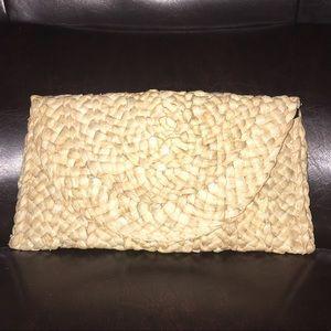 Handbags - Rattan straw envelope clutch